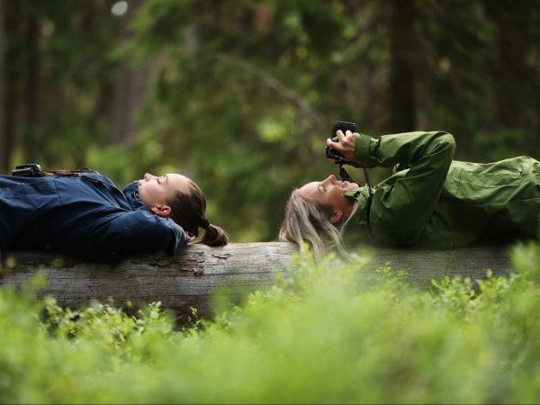 vk-retkeilijät-makaamassa-puun-päällä